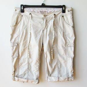 Arizona Cargo Capri Rolled Cuff Tabbed Shorts Pant